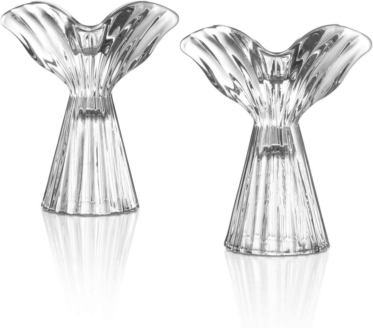 Glass Angel Candle Holder - Clear Taper Holders in Angel Wing Shape, 4.75 Inch Tall, Fits Standard Tapered Candlesticks, for Christmas Decor, Memorial or Sympathy Gift - Set of 2