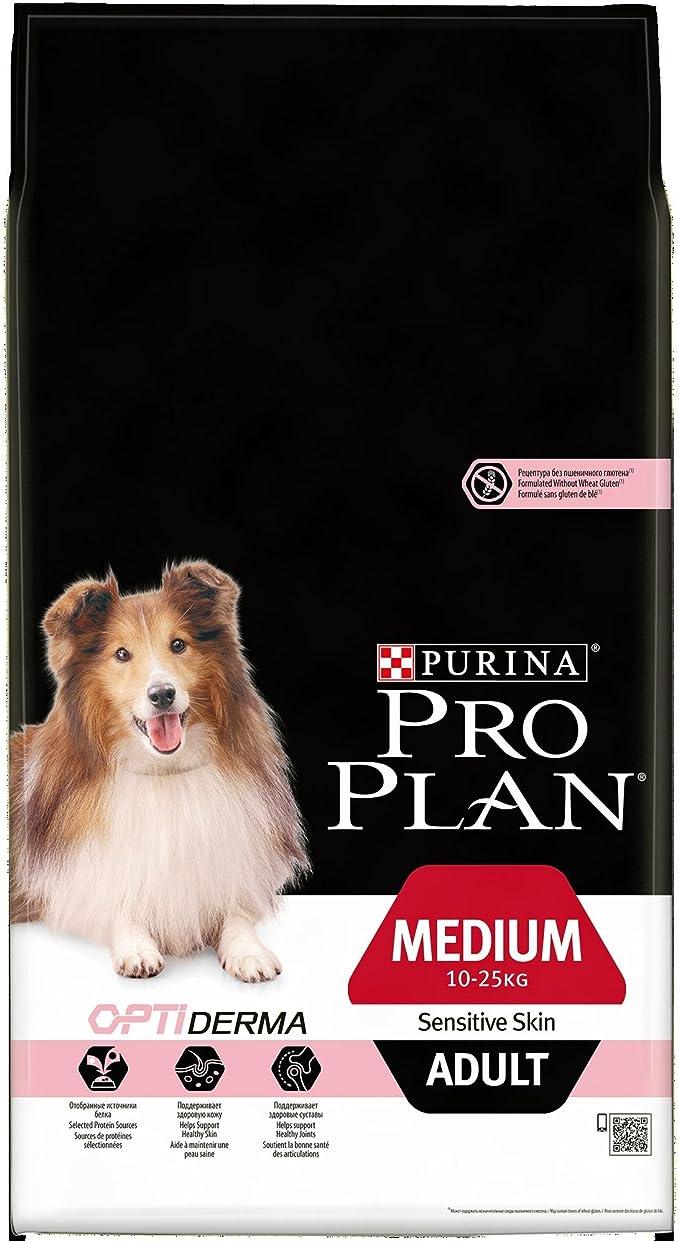 Pro Plan - Medium Adult Sensitive Skin con Optiderma, Rico en salmón – 7 kg – Pienso para Perros Adultos de tamaño Mediano