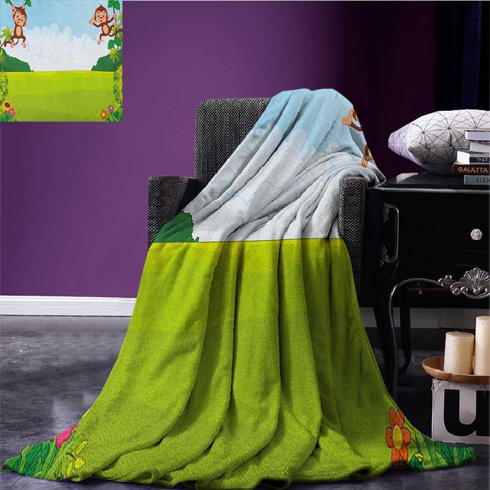 Nursery Printed blanket Cute Playful Monkeys Hanging on Vines Young Kid Chimpanzees Summer Fun minion blanket Pale Blue Brown Green size:50''x60''