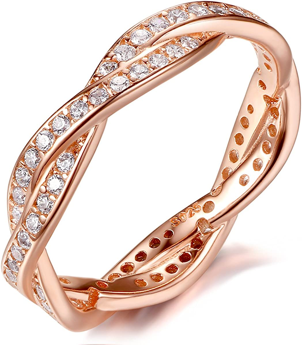 Brightt Rose Gold Plated Cz Eternity Band .925 Sterling Silver Ring Size 10