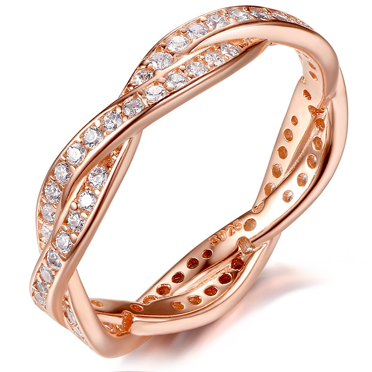 Presentski 925 Sterling Silver Rose Gold-plated Engagement Wedding Rings with Cubic Zirconia By