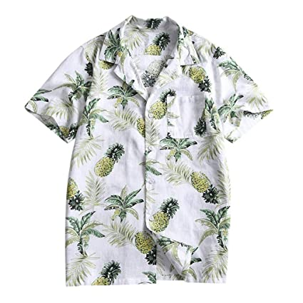 08a8d5bf Amazon.com: Men's Hawaiian Shirts, Fashion Fruit Print Blouse Button Slim  Fit Tops Short Sleeve Tunic Casual Slim Fit Tees: Office Products