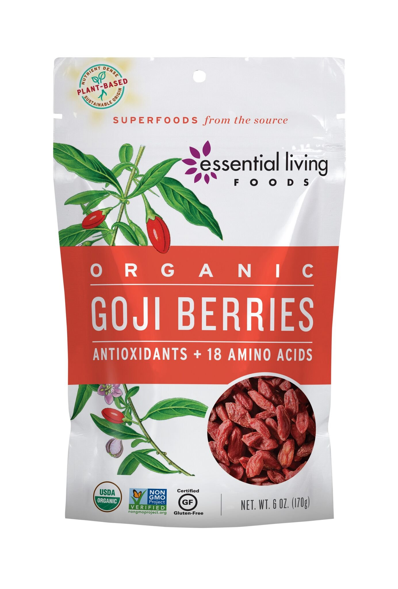 Essential Living Foods Organic Goji Berries, Dried, Highest Quality, Responsibly Grown Wolfberry, Vegan, Superfood, Non-GMO, Gluten Free, Kosher, 6 Ounce Resealable Bag