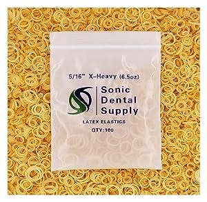 "Sonic Dental - Amber 5/16"" X-Heavy 6.5 oz - Orthodontic Elastic - Braces - Dental Rubber Bands USA"