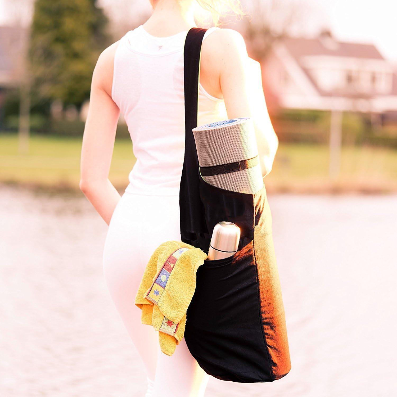 Yogabag con bolsillo lateral grande y bolsillo con cremallera por ONEGenug Bolsa de lona para yogamats