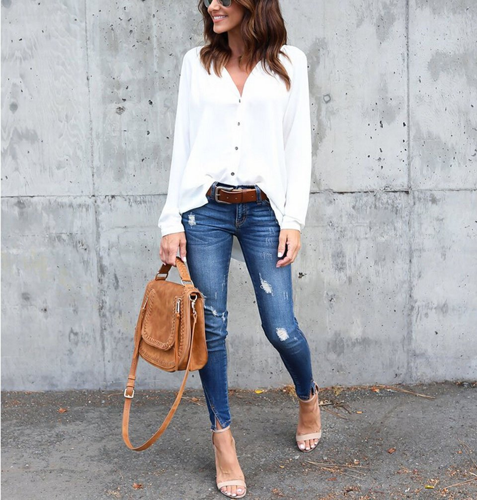 d355550d Women's Summer V Neck Button Down Solid Loose Casual Cuffed Long Sleeve  Blouses Shirts Tops (S, White) - HSQ-FN20261A_MX < Blouses & Button-Down  Shirts ...