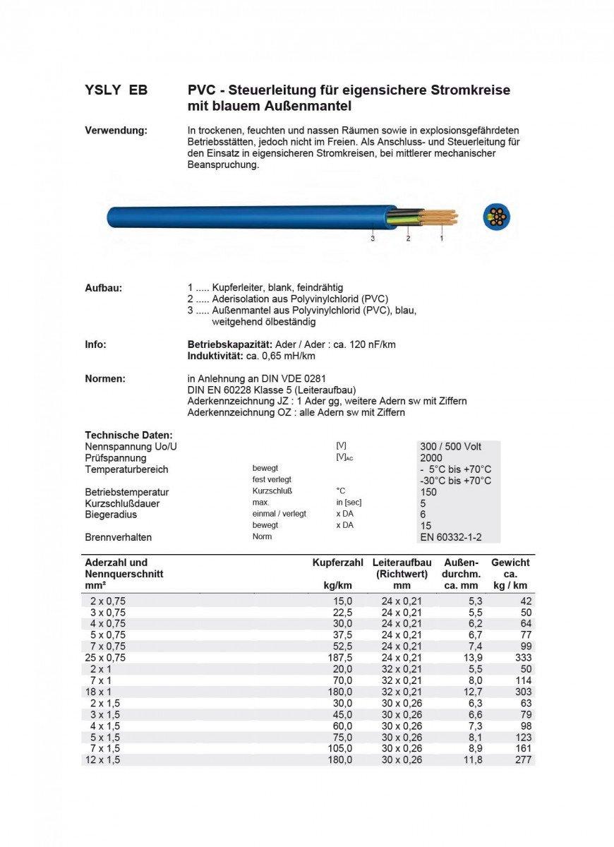 Ecoline ysly di Oz EB 4/X 0,75/PVC controllo cavo cavo di collegamento inserto in eigensicheren Strom circoli lsyy di Oz EB 4/X 0,75/Blu 50/meter