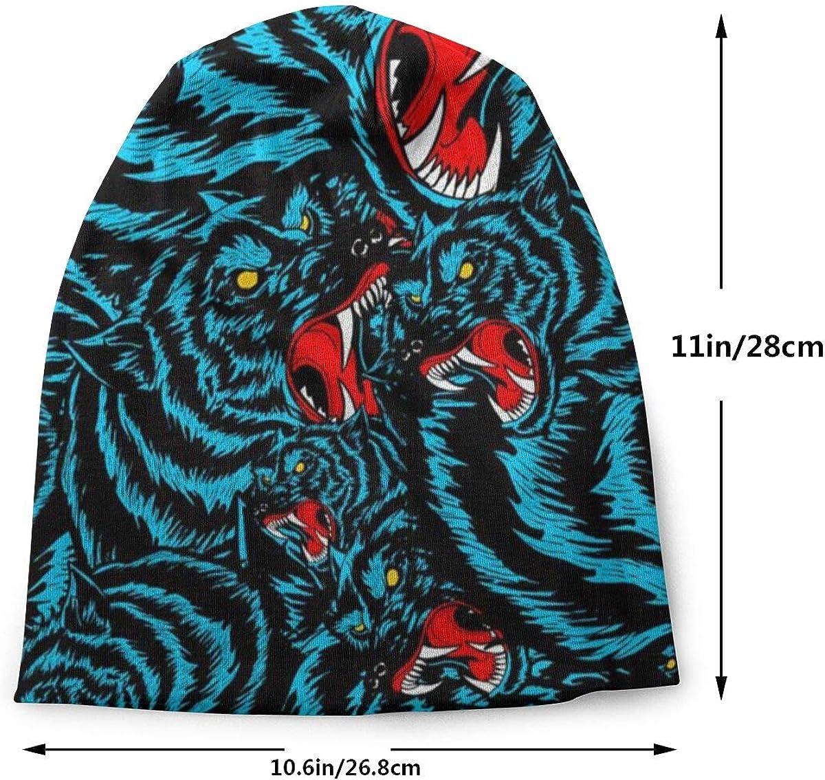Blue Wolf Pattern Mens Womens Winter Beanies Knit Hat Stretch Skull Cap