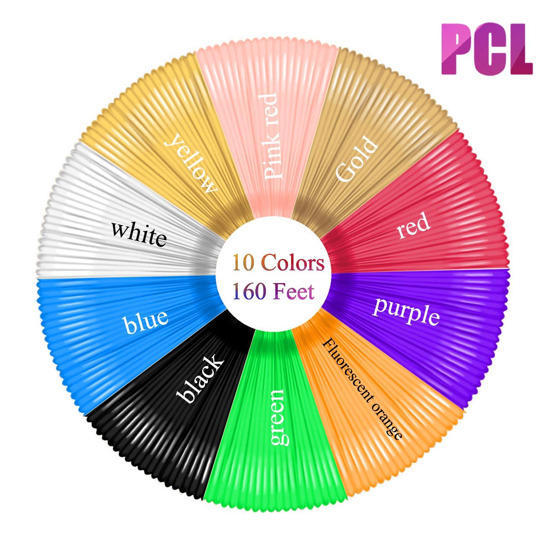 Total 150 Feet PCL Filament 1.75mm 10 Colors, 15Feet Each Innens 3D Pen PCL Filament Refills