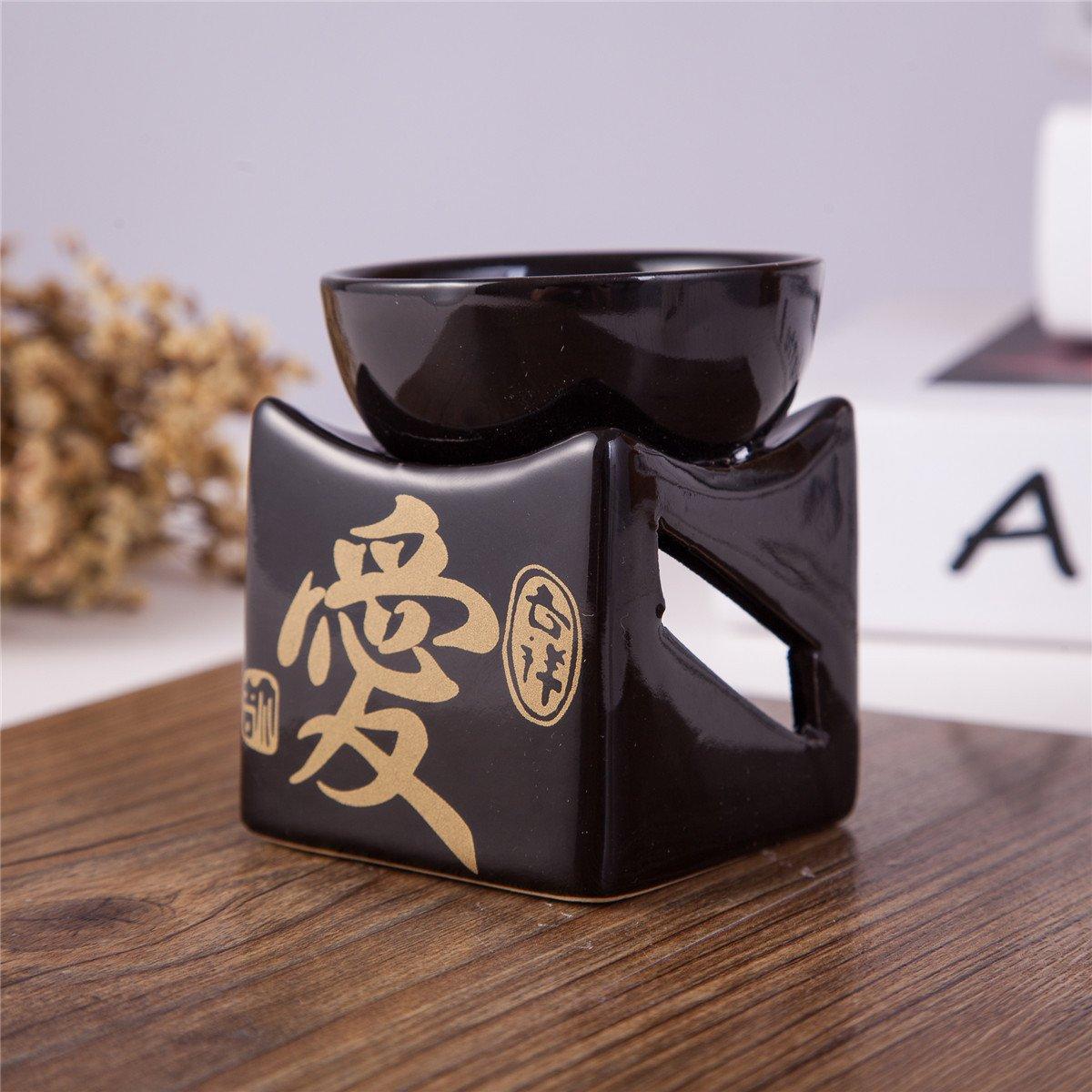 "Feng Shui Zen Ceramic Essential Oil Burner Diffuser Tea Light Holder Great For Home Decoration & Aromatherapy ""LOVE"" OLBA105"
