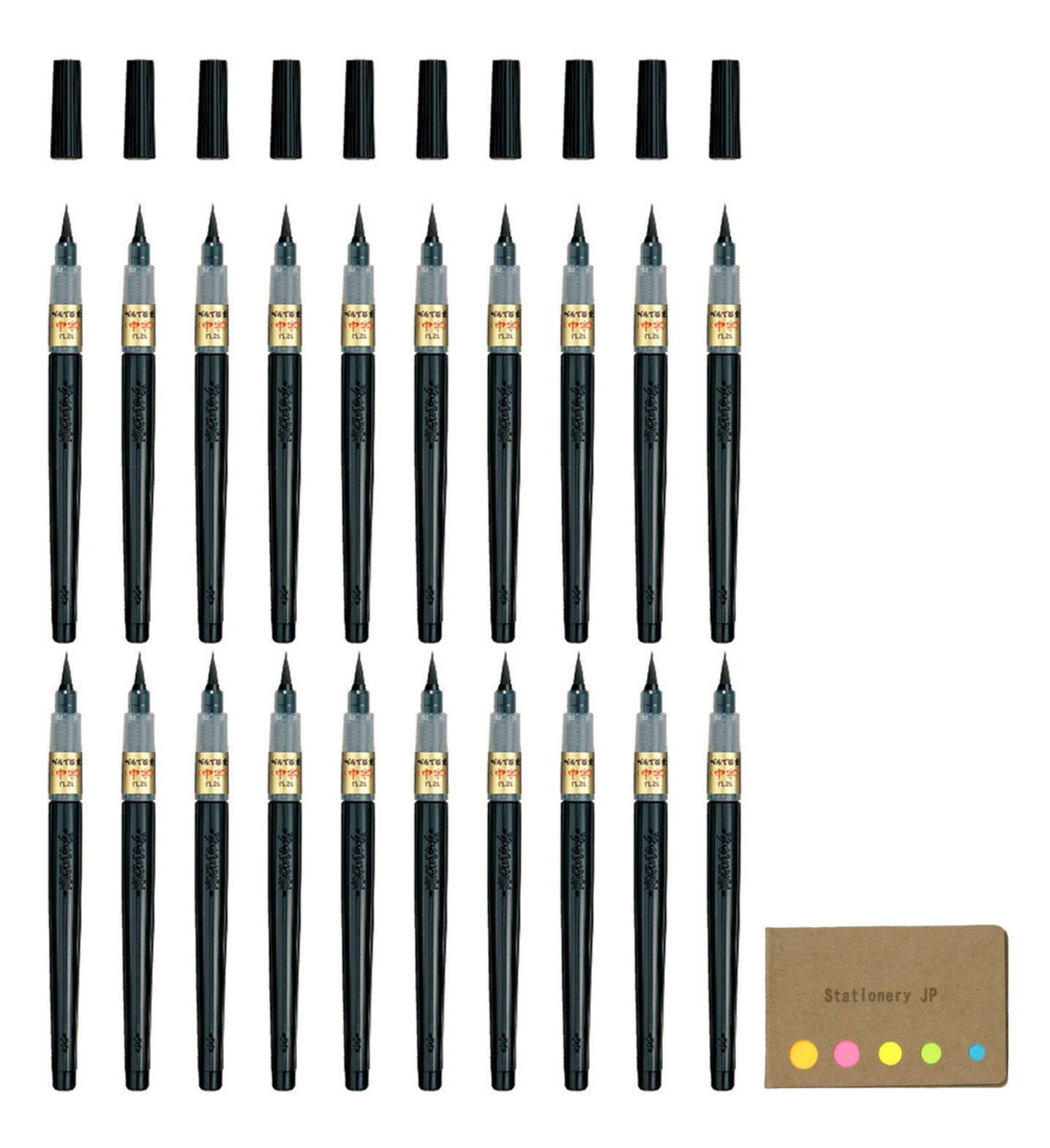 Pentel Fude Brush Pen, Medium, 20-pack, Sticky Notes Value Set