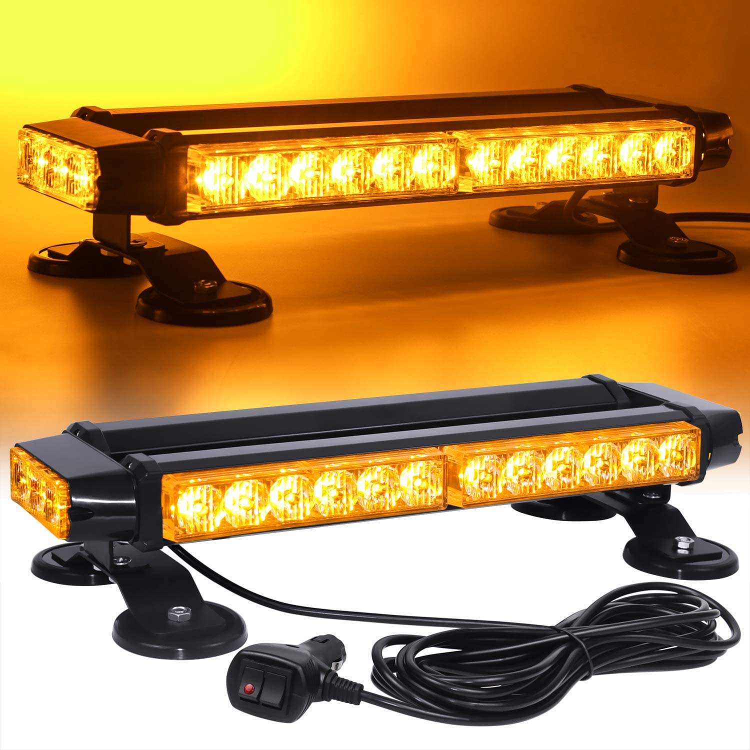 "15/"" LED Amber Security Double Side Warn Emergency Flash Roof Strobe Light Bar"