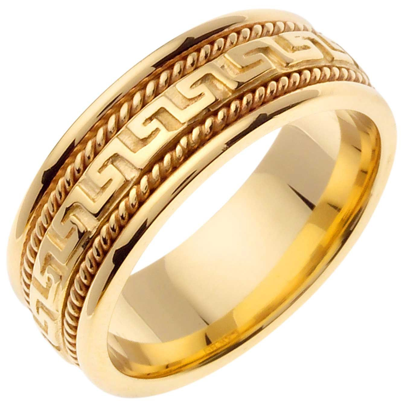 14K Gold Designer Greek Key Women's Comfort Fit Wedding Band (8mm) Size-6.5c1