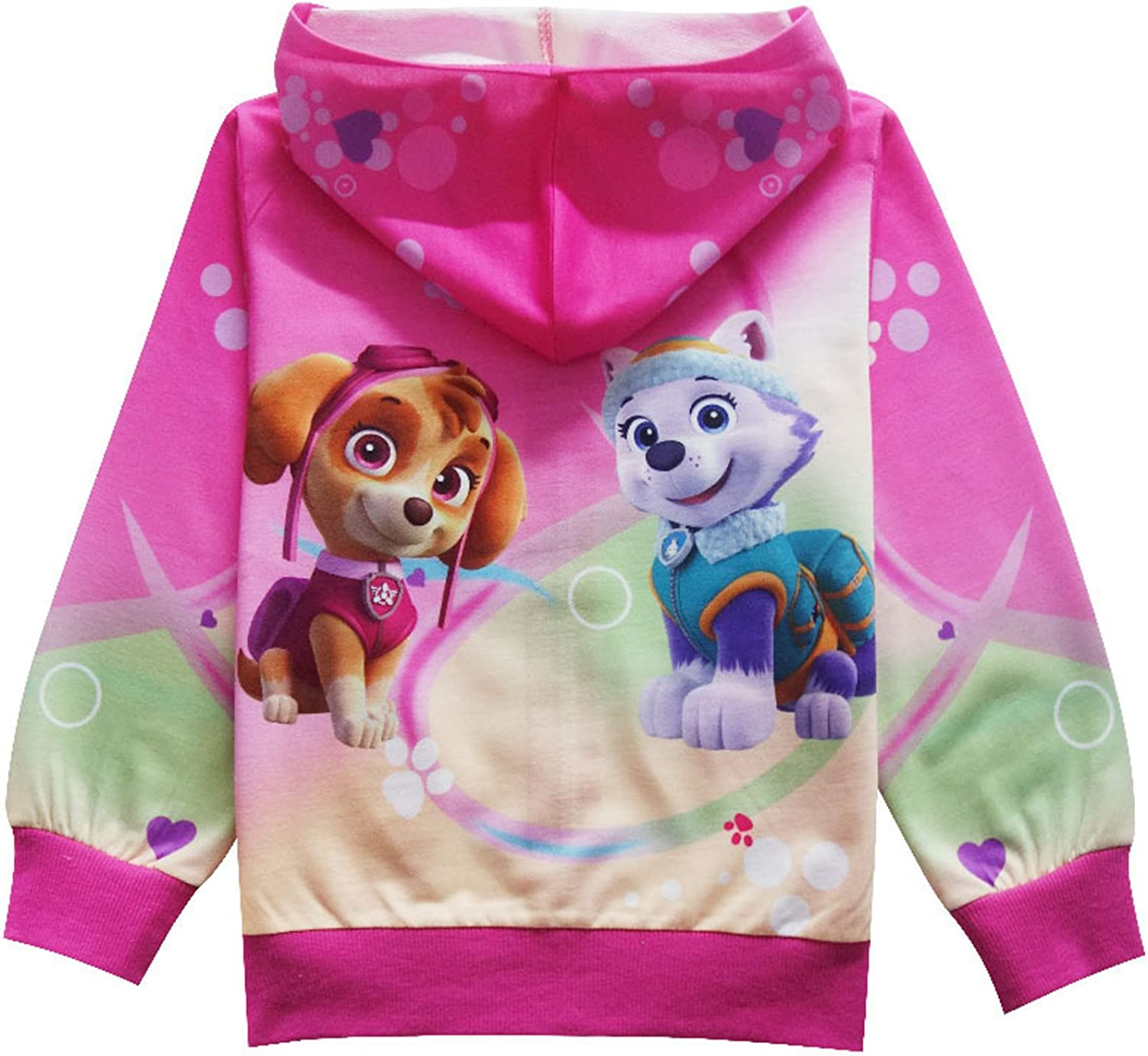 PCLOUD Little Girls Cute Dog Printing Pink Hoodie Jacket