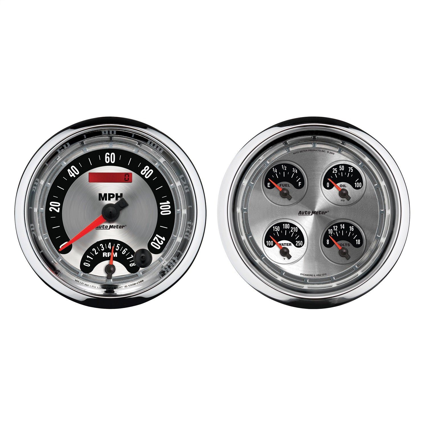 Auto Meter 1205 American Muscle 5'' Quad and Tachometer/Speedometer Combo Gauge