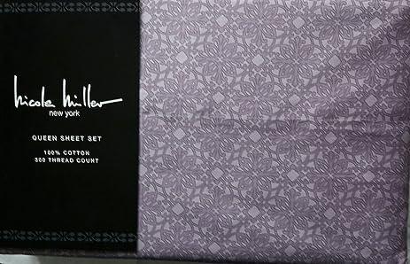 Amazon Nicole Miller Queen Sheet Set Sweet Action Embroidery