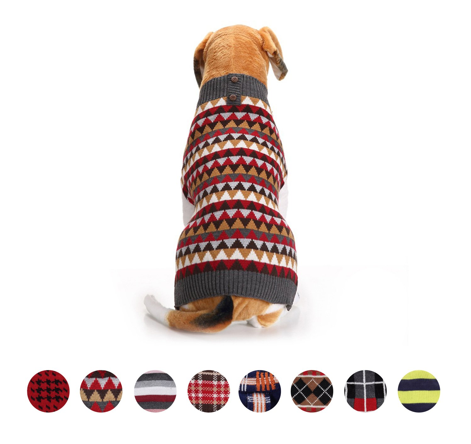 GabeFish Dog Striped Vintage Checked Printed Winter Warm Sweater Fashion Cute Cool Causal Pattern Pets Knit Clothes Red Large