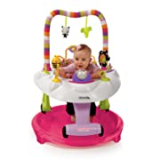 Kolcraft Baby Sit and Step 2-in-1 Activity Center - 360° Spin Seat, 10 Fun Developmental Activities, Converts to Walk-Behind Walker (Pink Bear Hugs)