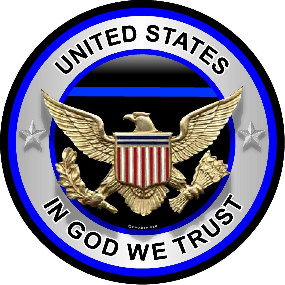 One United States In God We Trust Thin Blue Line Decal ProSticker 311V