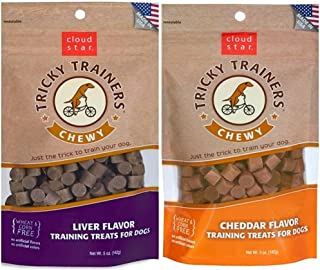 product image for Cloud Star Chewy Tricky Trainers Flavor Variety Dog Treats Bundle: (1) Cloud Star Chewy Tricky Trainers Cheddar Flavor, (1) Cloud Star Chewy Tricky Trainers Liver Flavor, 5oz Bags