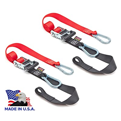 "PowerTye 1½"" x 6½ft Heavy-Duty Ratchet Tie-Downs, Made in USA with Soft-Tye and Carabiner Hooks, Red/Black (pair): Automotive"