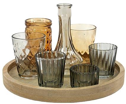 Vassoi In Legno Con Vetro : Marymarygardens vassoio in legno con vaso e vetro portacandele