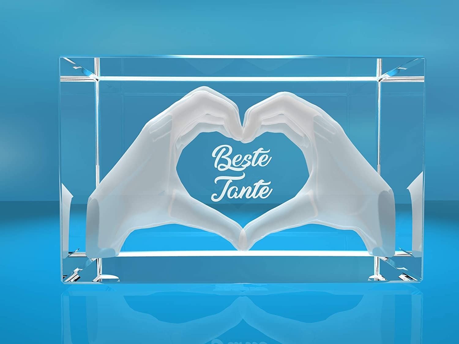 Vip Laser 3d Glass Crystal Engraved I Heart From Two Hands I Text Best Aunt I The Great Mother S Day Birthday Or Christmas Gift Küche Haushalt