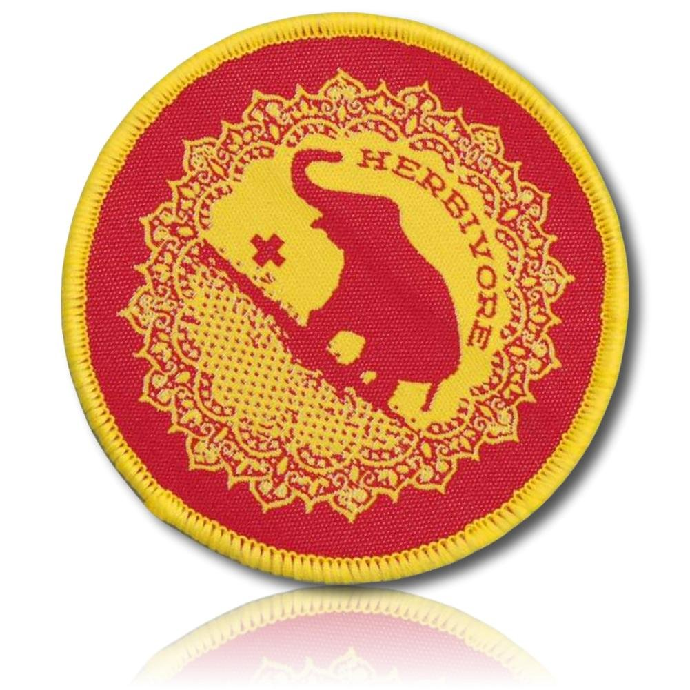 1 Count Single Custom and Unique Round Circle Small Popular Culture Good Luck Elephant Animal Herbivore Vegetarian Lifestyle Design Iron On Embroidered Applique Patch {Red /& Yellow} 2.5 Inch