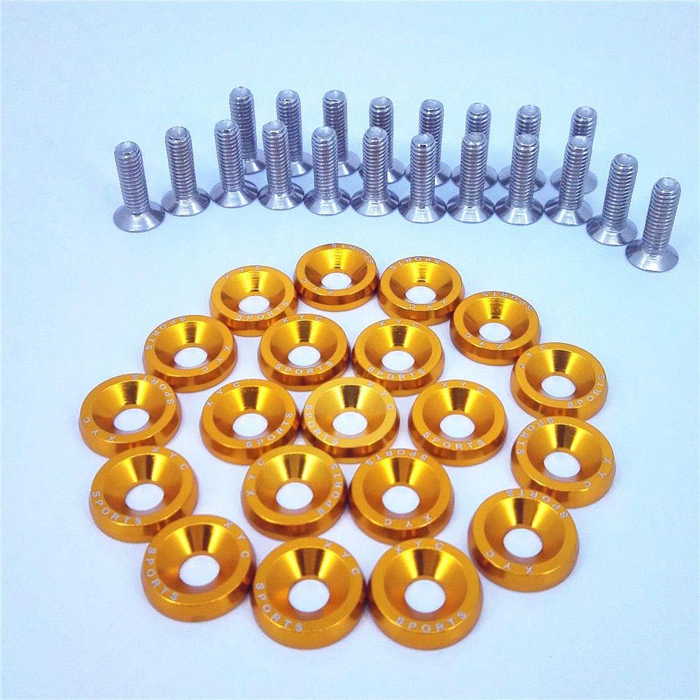 20X Gold JDM Billet Aluminum Fender//Bumper Washer//Bolt Engine Bay Dress UP KIT