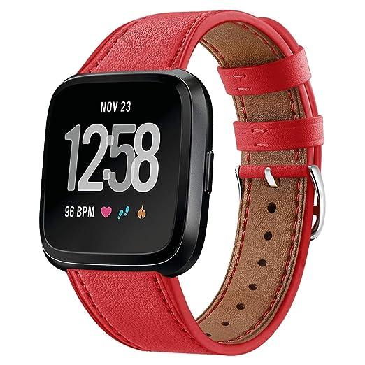 para la Correa de Fitbit Versa, por Versa Fitbit Bandas de Reloj del perseguidor de Grano Completo de Cuero de Vaca Reloj Deportivo de Color Rojo Banda: ...