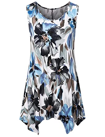 c7338bfed2b FANSIC Womens Summer Floral Tunic Tank Tops Casual Loose Sleeveless Dressy  Blouses at Amazon Women's Clothing store: