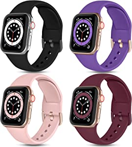 Witzon Compatible with Apple Watch Band 40mm 38mm iWatch Series 6 5 4 3 2 1 SE for Women Girls Ladies, 4 Pack Cute Soft Silicone Replacement Sport Bands, Pinksand/Black/Wine Red/Purple