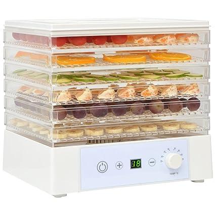 festnight secador de fruta verduras con 6 bandejas 250 W 35 °C – 70 °
