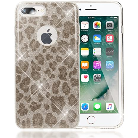 iphone 8 coque silicone léopard