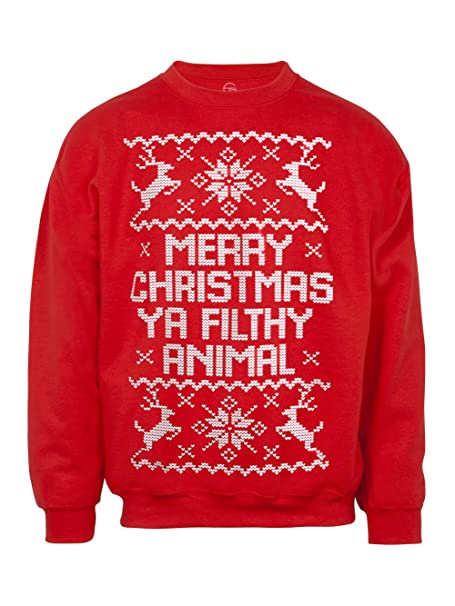 666c2dc5f27 Mens Merry Christmas Ya Filthy Animal Ugly Christmas Sweater - Small ...