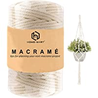 Cotton Macrame Cord Rope, HOME-MART Macrame Natural Cotton Cord 100M 4mm for Knittin,Cotton Yarn Crafting,Macrame Cord…