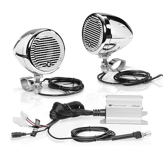 planet audio pmc2c motorcycle speaker system – bluetooth, weatherproof  speakers / amplifier, two 3