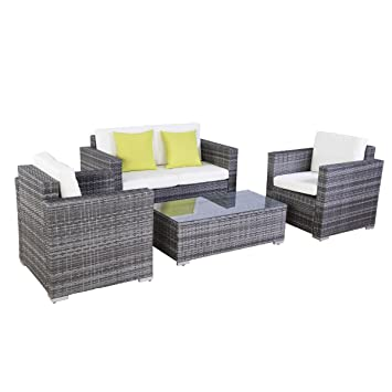Amazon.de: Poly Ratten Lounge Gartenmöbel Rattan Lounge Set Garnitur ...