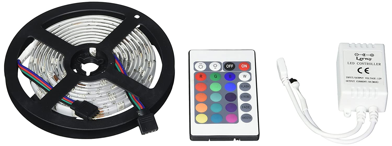 Lerway Impermeable 2M Multicolores RGB 30 Luces LED iluminación SMD 5050 IP65 Flexible con 24 Llaves IR Controllera Remoto: Amazon.es: Hogar
