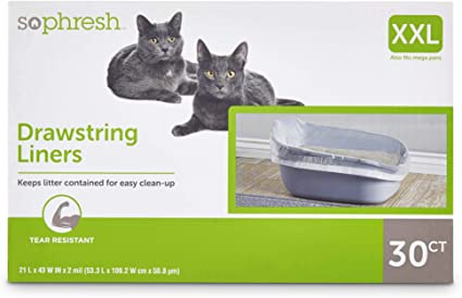 "So Phresh Elastic Cat Litter Pan Liners 17/"" L x 32/"" W"