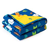 Anjee Kids Weighted Blanket 5lbs for Children, Breathable Cotton Fabric with Cute Dinosaurs Cartoon Pattern Help Better Sleep, 36 x 48 Inches, Navy Blue