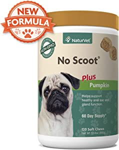 NaturVet - No Scoot for Dogs - 120 Soft Chews - Plus Pumpkin - Supports Healthy Anal Gland & Bowel Function - Enhanced with Beet Pulp, Flaxseed & Psyllium Husk