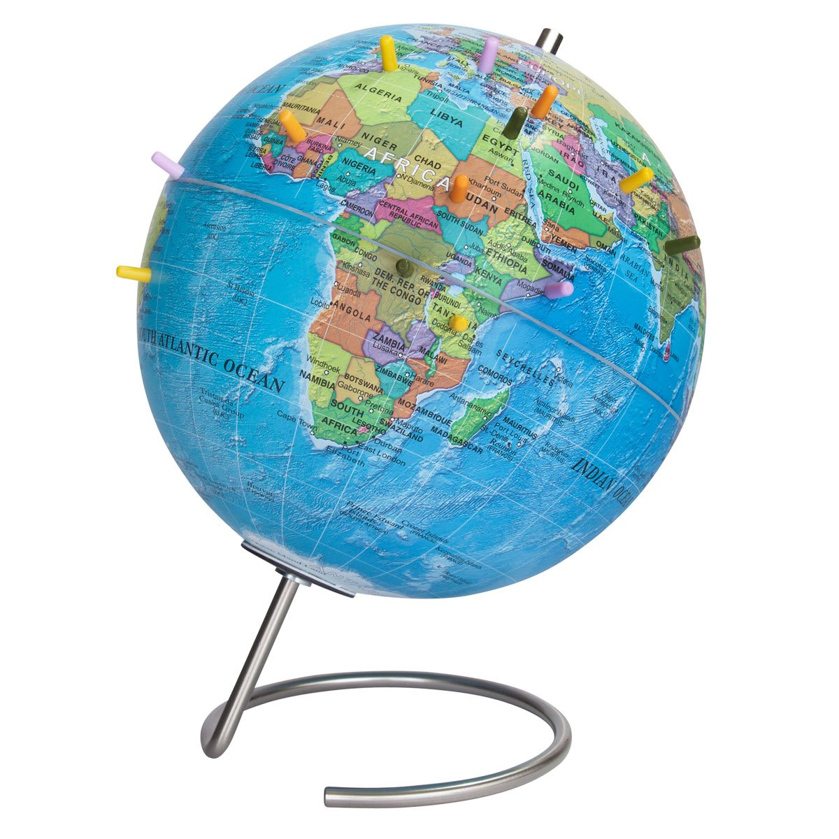 Waypoint Geographic Magneglobe Magnetic up-to-Date World Globe with Stand - Includes 32 Magnetic Pins for Marking Travels & Fun Points of Interest (Blue Ocean) by Waypoint Geographic (Image #1)