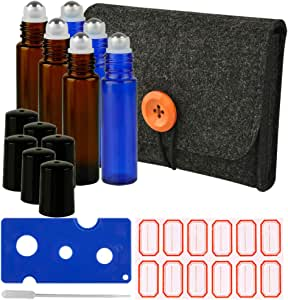 ARIZA Essential Oil Roller Bottles with Carrying Case Stroage, 6 Pack 10ml Travel Glass Bottles with Stainless Steel Roll-on Balls, 12pcs Labels, 1 Dropper, 1 Opener Included (Cobalt Blue & Amber)