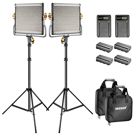 Neewer Bi Color Led 480 Video Light And Stand Kit With Battery And Charger For Studio, You Tube Video Shooting, Durable Metal Frame, Dimmable With U Bracket , 3200 5600 K, Cri 96+ (2 Pack) by Neewer