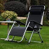 Respace Zero Gravity Outdoor Lounge Patio Folding Reclining Chair with Cup Holder Black