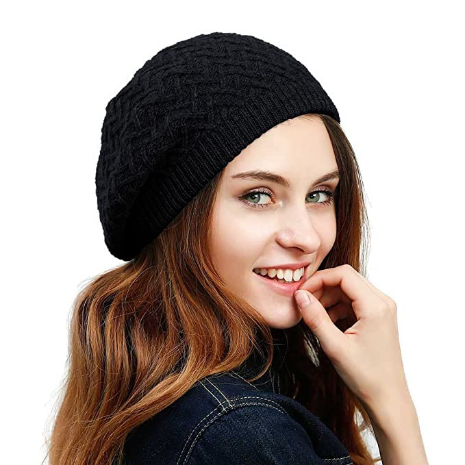 JULY SHEEP Women s Knitted Beret hat wool Braided hat French Beret for  Winter Autumn 18d9af57067