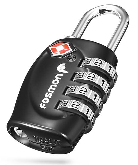 Schwarz Fosmon Premium TSA Kabelschloss//Zahlenschloss//Vorh/ängeschloss//Reiseschloss//Gep/äckschloss 3 stellige Zahlencode Rostfrei|Zink Legierung Gep/äck//Koffer USA