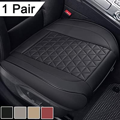 Black Panther 1 Pair Luxury PU Leather Car Seat Covers Cushions Front Seat Bottoms Protectors,Compatible with 90% Vehicles (Sedan SUV Truck Van MPV) - Black,Triangle Pattern (21.26×20.86 Inches): Automotive