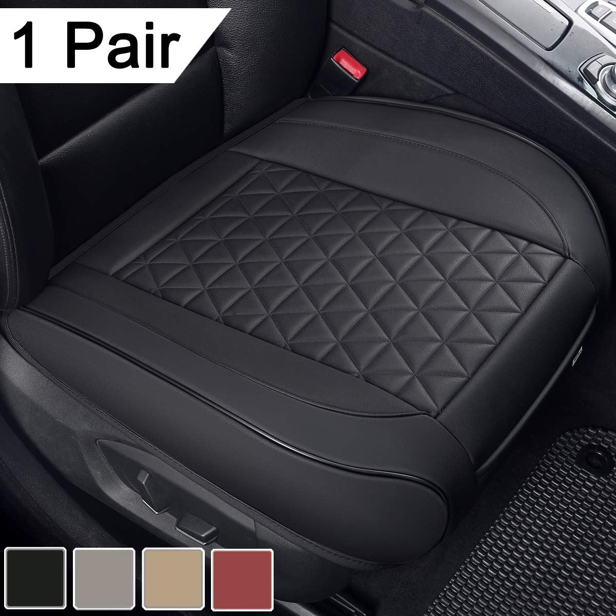 Black Panther 1 Pair Luxury PU Leather Car Seat Covers Cushions Front Seat Bottoms Protectors,Compatible with 90% Vehicles (Sedan SUV Truck Van MPV) - Black,Triangle Pattern (21.26�20.86 Inches)